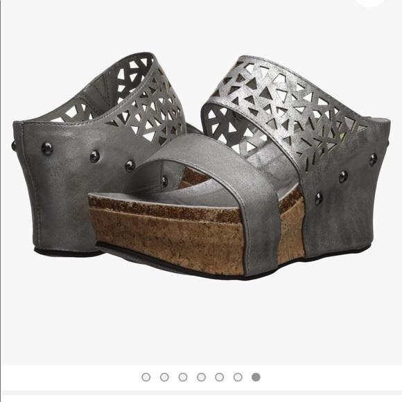 Volatile silver Bayswater platform wedge sandal